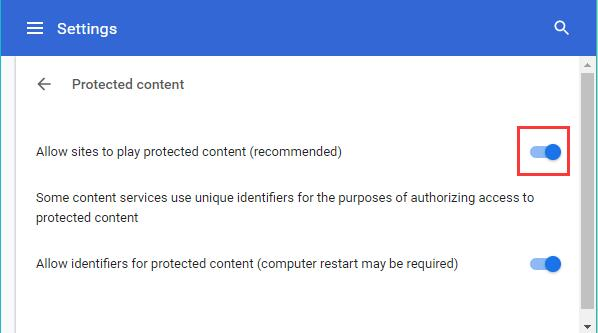 allow sites to play protected content