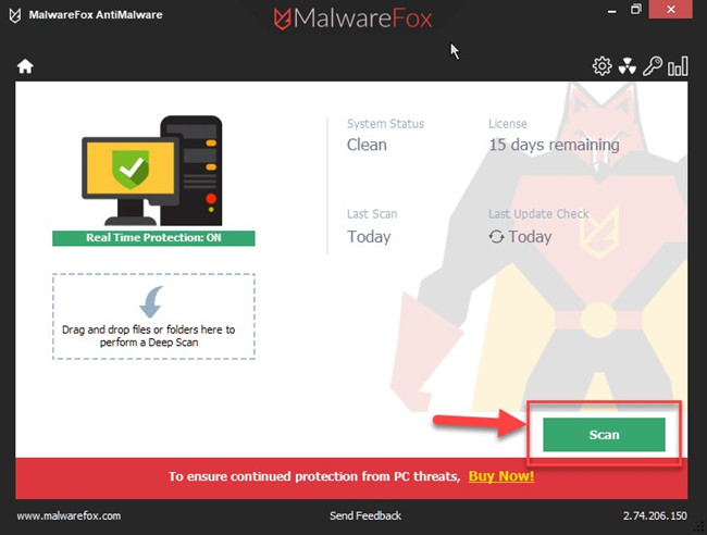 malwarefox anti-malware start scan