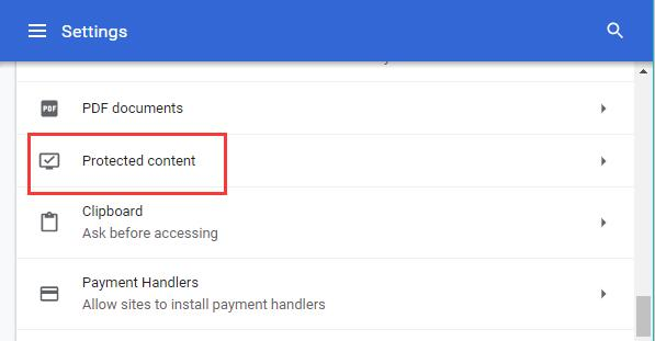 protected content on chrome