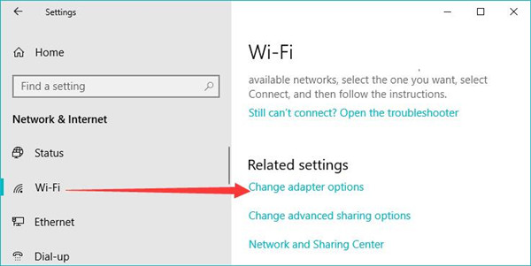 wifi change adapter options