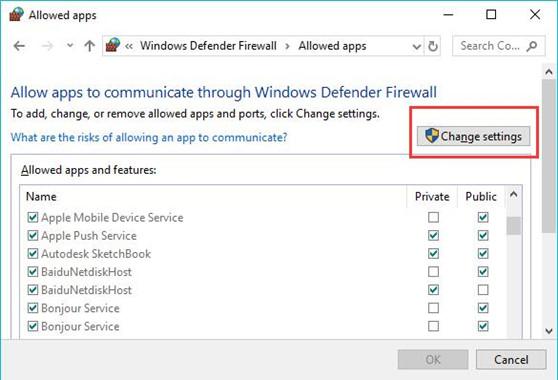 change settings in windows firewall