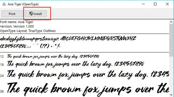 install font from fontspace