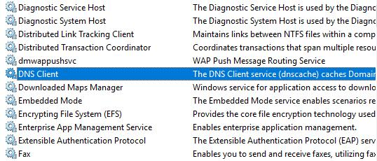 restart dns client service