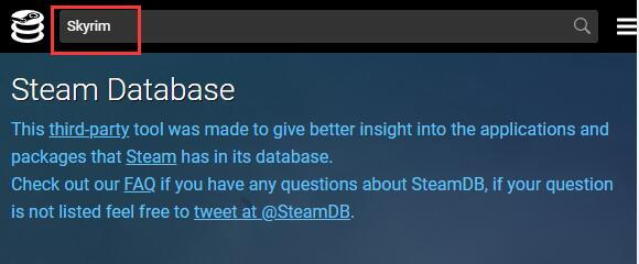 search skyrim in steam database
