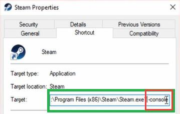 target console in steam properties