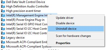 uninstall intel management engine interface driver