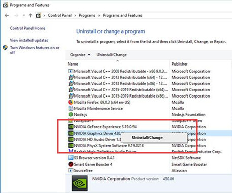 uninstall nvidia drivers in control panel