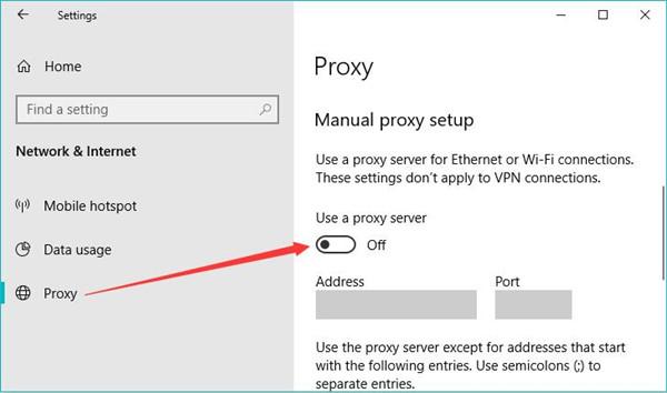 disable proxy