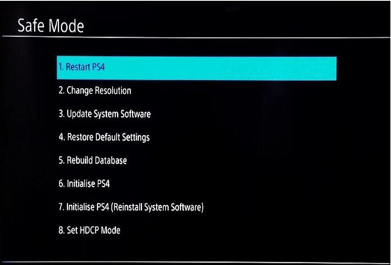 get ps4 out of safe mode