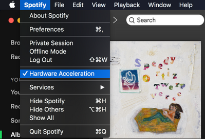 mac spotify hardware acceleration