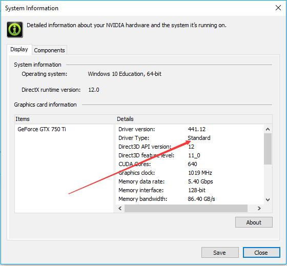 nvidia control panel driver type