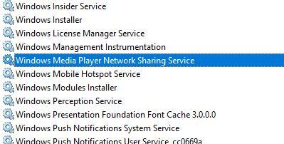 windows media player network sharing service
