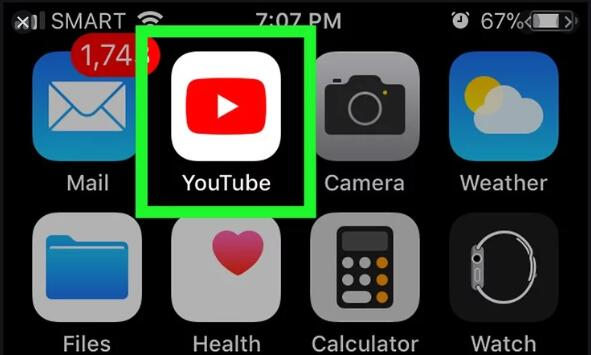 youtube application on mobile phone