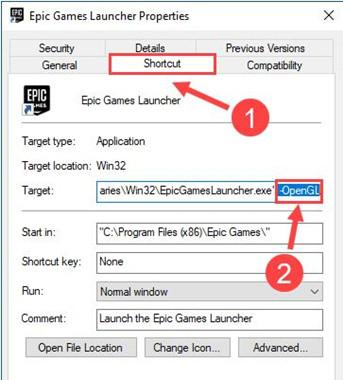 change the property of epic games lanucher