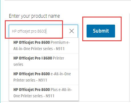 enter the product name on hp official site