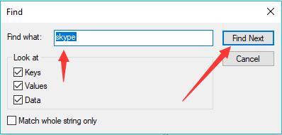 find skype registries
