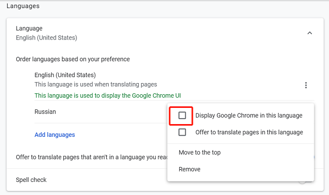 google chrome display a language
