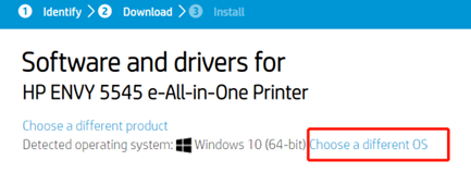 hp envy 5540 driver choose a different os