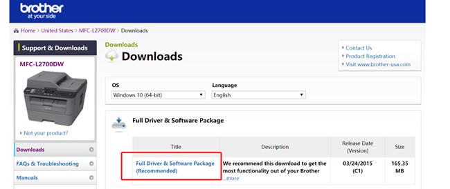 mfc l2700dw driver download page