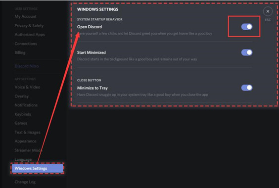 disable autostart for discord in discord app