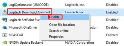 disable logitech download assistant task manager
