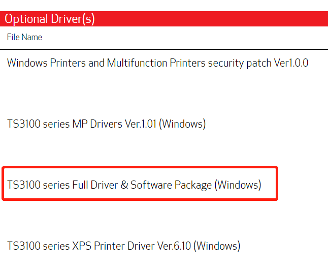 ts3100 series full driver software package