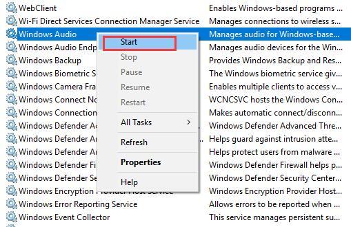 windows audio service start