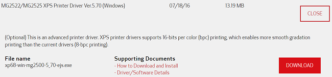 mg2522 drivers file download