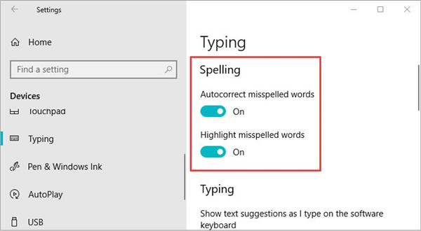turn on spell check windows 10