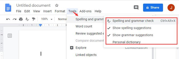 spell check in google docs