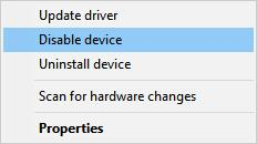 disable device in device manager