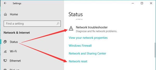 network reset on windows 10