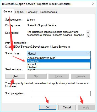 start bluetooth support service automatic