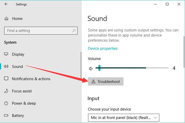 troubleshoot audio issue by windows troubleshooter