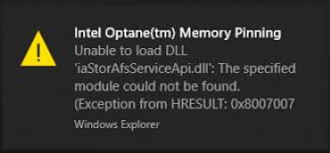 intel optane memory pinning unable to load dll error