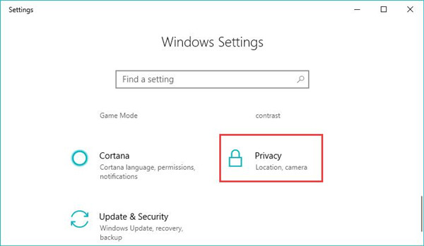 privacy in windows settings