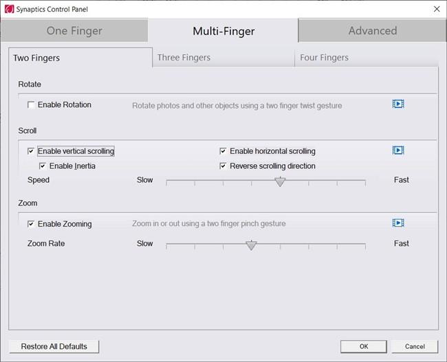 enter multi-fingers settings