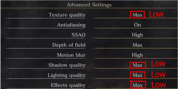 set game options low