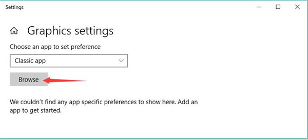 browse in graphics settings