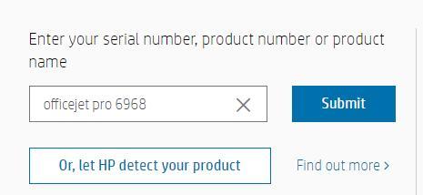 enter hp printer serial number