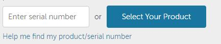 enter serial number or select the product
