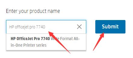 enter your product name on hp website