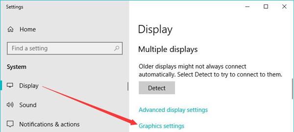 graphics settings in display settings
