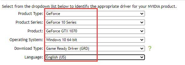 gtx 1070 driver select