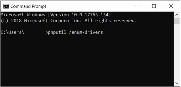 pnputil enum drivers in command prompt