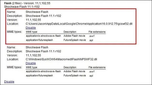 shockwave flash plugin on google chrome