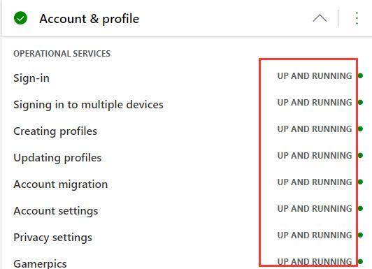 specific xbox live service status