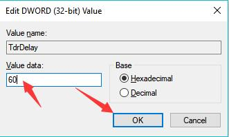 value data tdrdelay 60