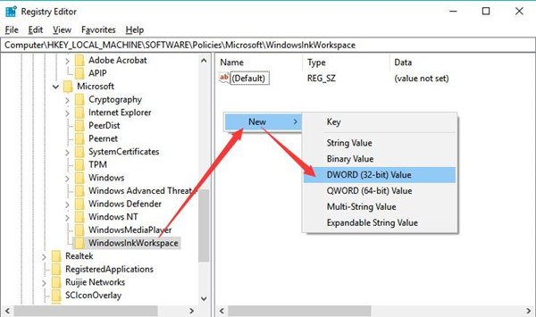 create a new dword 32 key