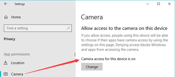 allow access to the camera on this device